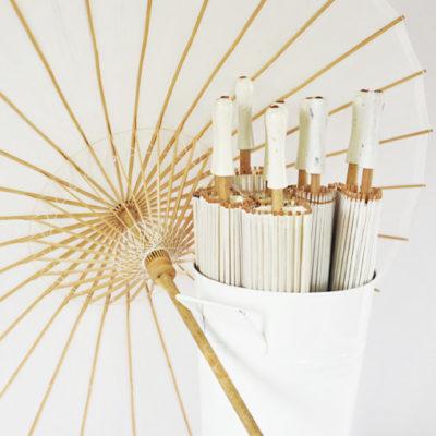White Bamboo Parasols