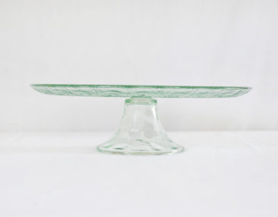 Frosted green cake stand