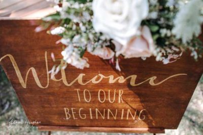 noosa beach ceremony welcome sign
