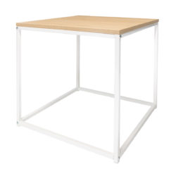 wood and white metal table